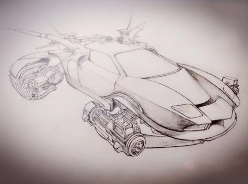 求科幻的素描画,简单点的,2张