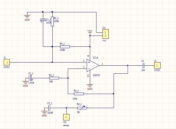 用lm324单电源做运放,电路图如下,麻烦哪位高手帮忙看看,自己摸索不出