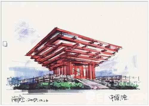 求知名建筑手绘,要上色的