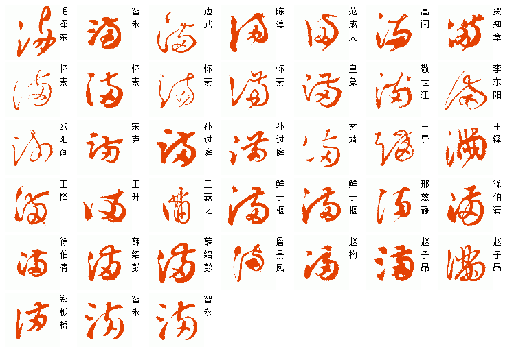 [满]字历代名家名帖的草书写法.如图所示