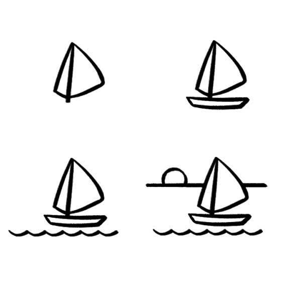 帆船的简笔画