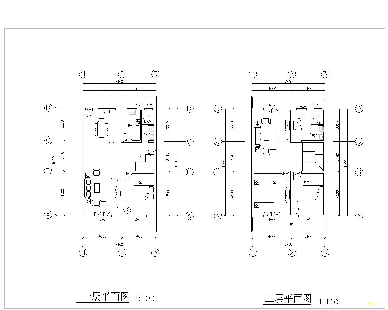 有没有会设计 自建房图纸,80平方,两层两边都是别人的图片