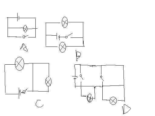 这4个电路图,闭合开关,能使所连接的灯泡都发光的电路图是?