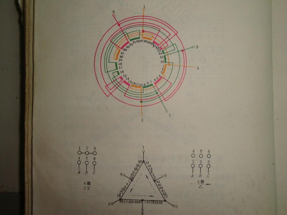 急求36槽4/6级电机4y3y接线图