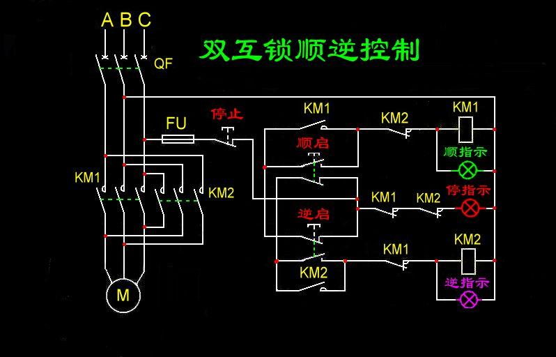 三相异步电动机双重连锁正反转控制电路图带显示灯