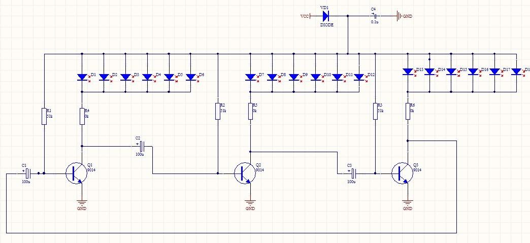 三极管振荡电路led能交替闪烁,但为什么led灯会越闪越