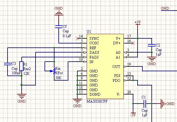max038产生正弦波的电路图如下,但是芯片发热厉害,输出端口也没有