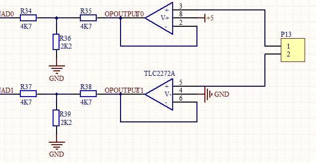 我想做一个0到10v的ad采集,如图tlc2274电压跟随电路,但是在实际电路