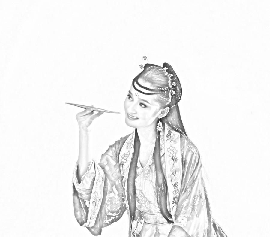 谁又铅笔素描的古装美女