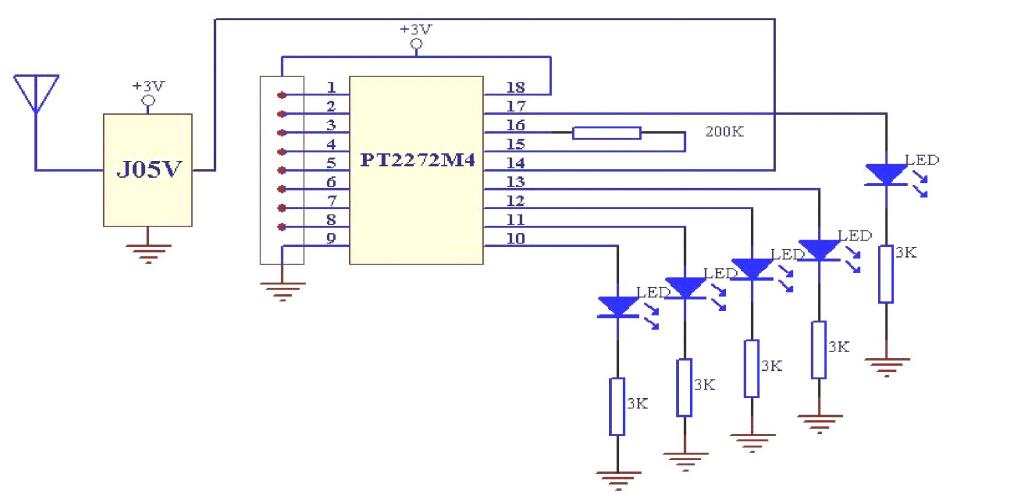 求pt2264与遥控发射模块链接电路图!用于单片机信号发射