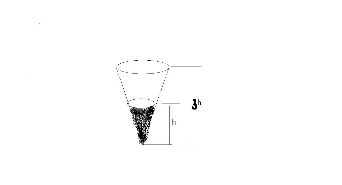 如下图所示句圆锥形容器中装有5升水水面高度正好是圆锥高度的三分之