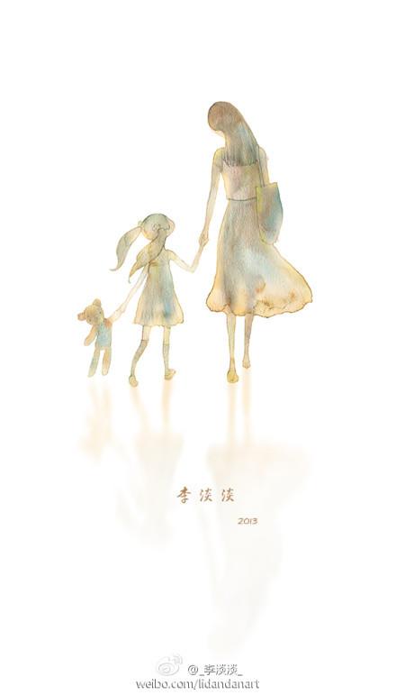"""一张""""妈妈和孩子""""背影的手绘图片"""