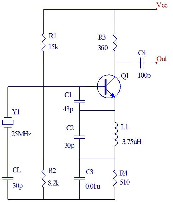 求一个石英晶体振荡器原理图
