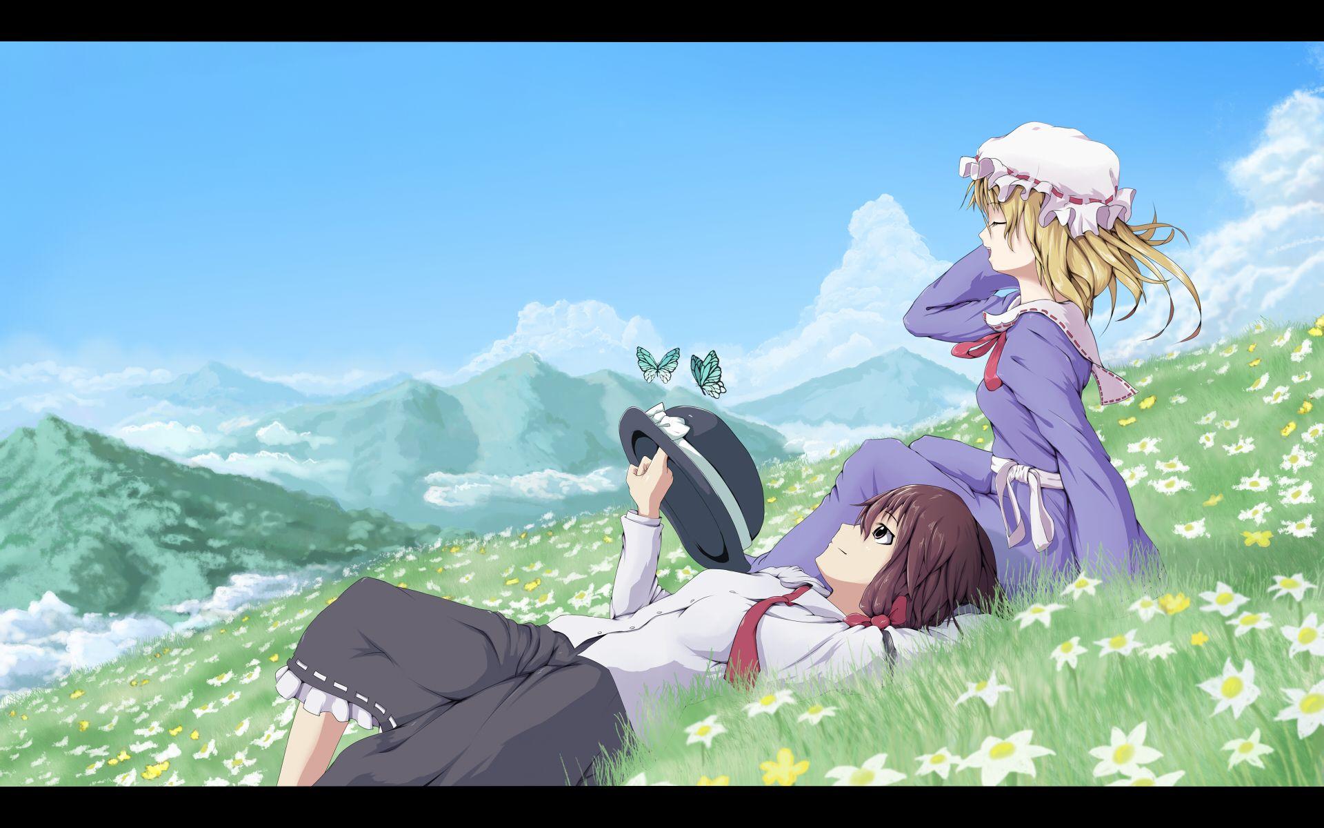 一个动漫女头 要一个女生坐在草地上 最好是侧面 其他