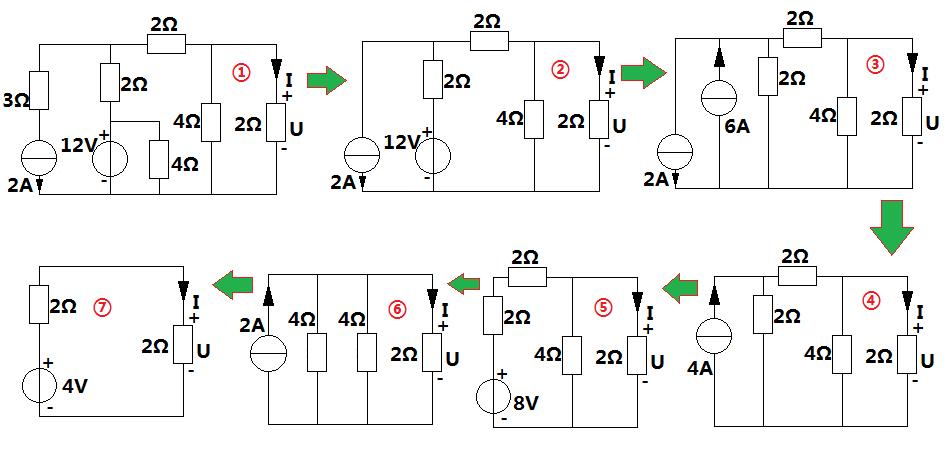 ①——②:电路中与电压源并联的电阻,电流源串联的电阻可取消,得到图