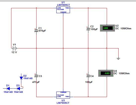利用7805 7905 12v直流电源产生正负5v 电路图如下,我仿真大概可以