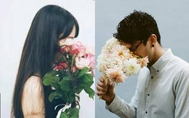 想要配一个情侣头像,手拿花遮住脸的侧面男生,唯美,女生头像如下,求配