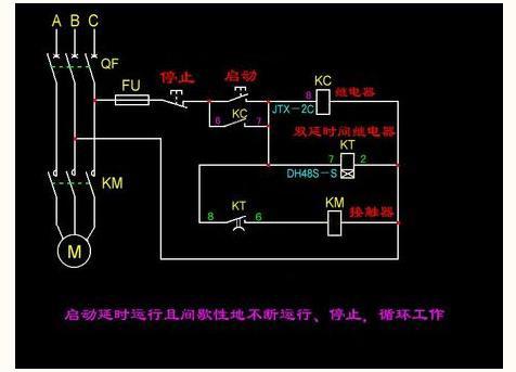 电动机间歇运行控制电路(用一个时间继电器和一个行程