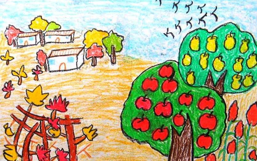 落叶,枯树,金灿灿校园,黄澄澄的稻田,然后根据想要突出的主题进行绘画图片