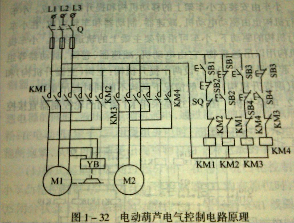 输入380v,线圈36v交流接触器控制行车正反转怎么接线
