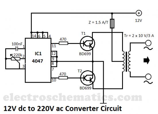 如何制件12v输入,输入为220v,的逆变器,用哪些元件及电路图 谢谢