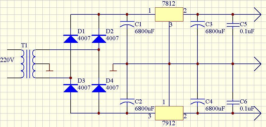 求将220v交流电转化为正负12v直流电源