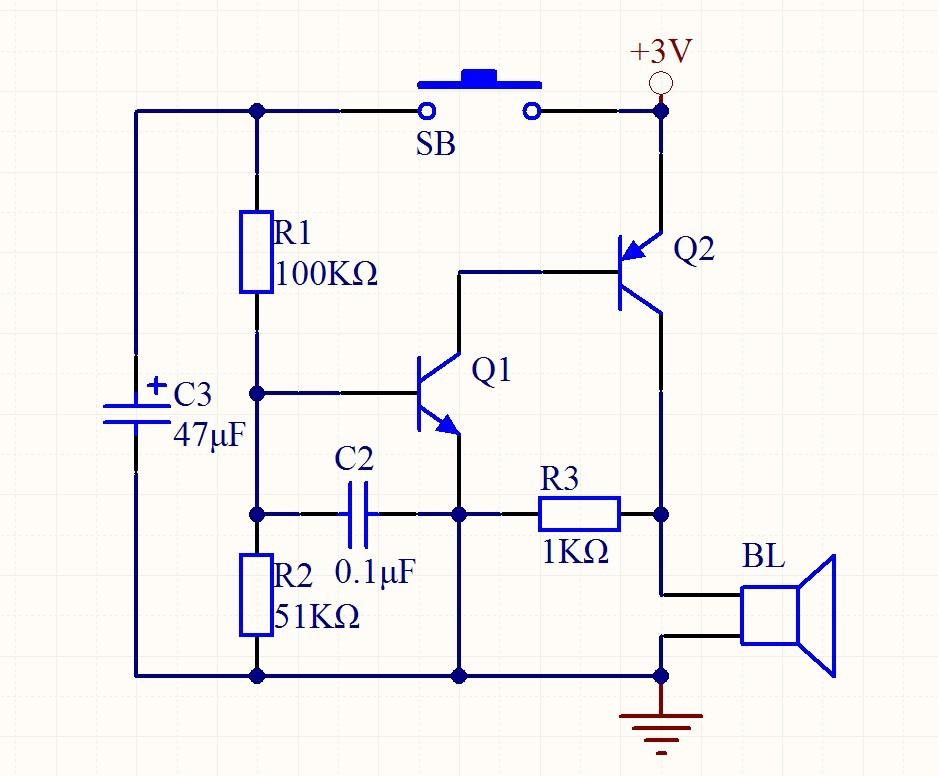三极管门铃电路原理 求解