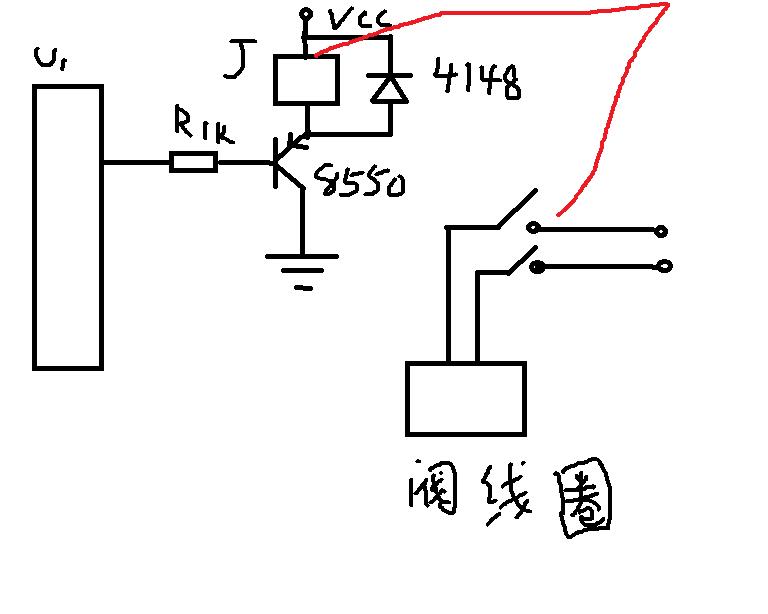 继电器j和单片机一个电源5v,二极管4148或4007不要而
