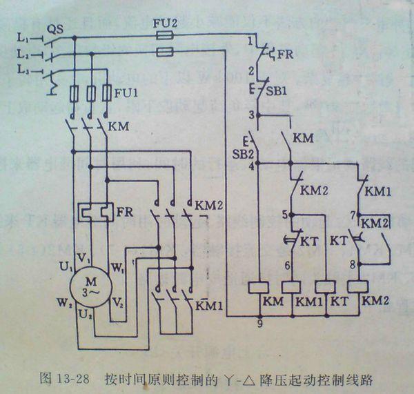 一个时间继电器怎么接星形--三角形降压启动装置,要求有实物图和电路