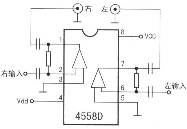 求简单的音频放大集成块4558d电路图 说明各个脚怎么接线.