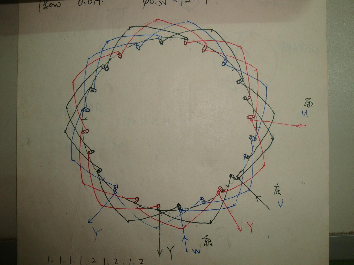 370w三相24槽6极双层交叠式电机接线图