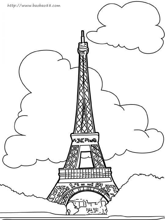 埃菲尔铁塔黑白手绘