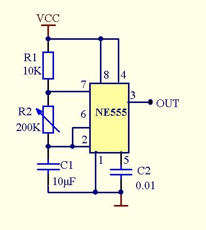 急求一个能产生1hz脉冲的电路图(用ne555,简单些好)