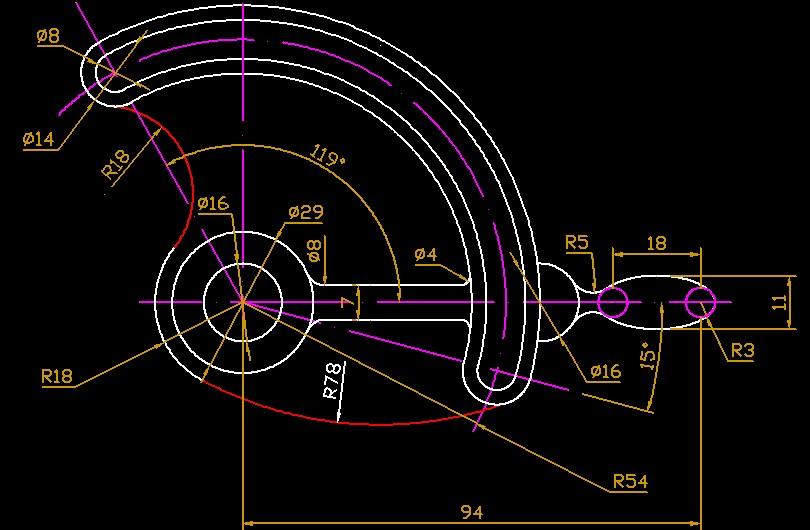 CAD问题:画与圆相切的圆弧。mspacecad图片