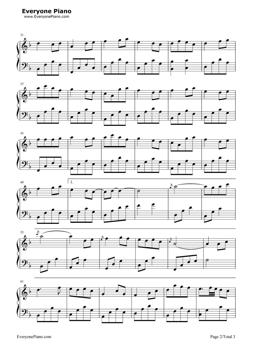 恋人心钢琴谱双手简谱