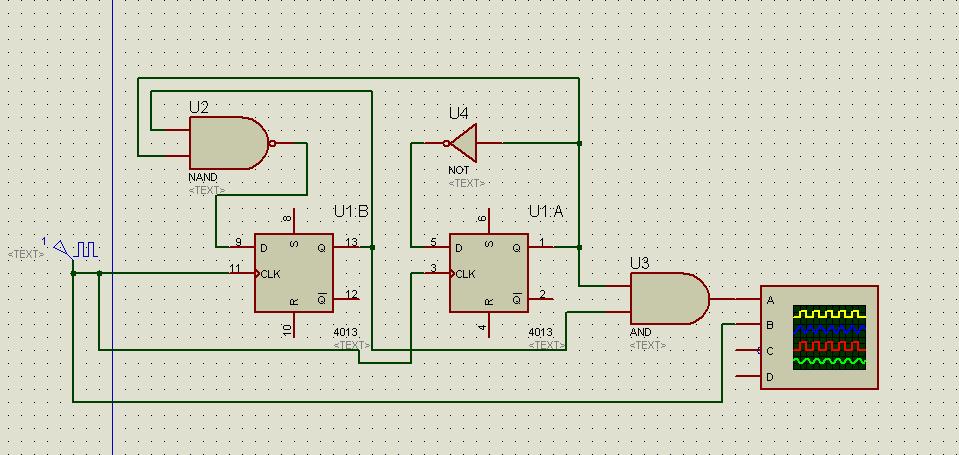 如何用d触发器实现2位2进制计数器电路图
