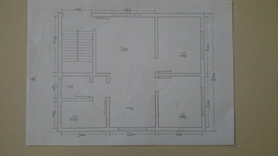 求个房屋设计图,2室2厅,带厨房卫生间,图是一楼的,二楼在南边出一个1.