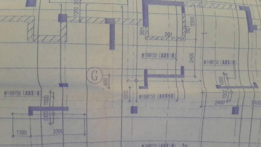 平板式筏板基础底部钢筋的配置.图中底筋第三排.图片