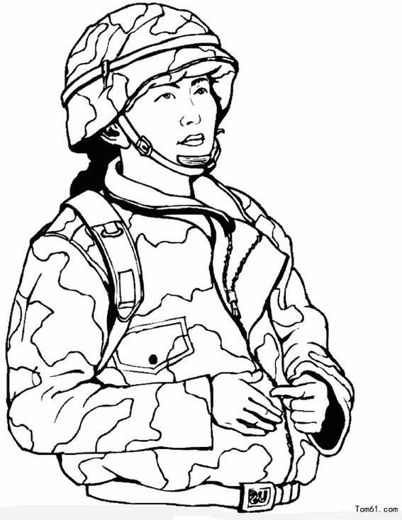 军人简笔画图片大全