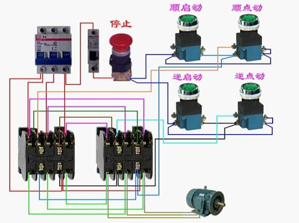 一个启动 一个点动 和一个停止按纽控制三项电动机的实物接线图