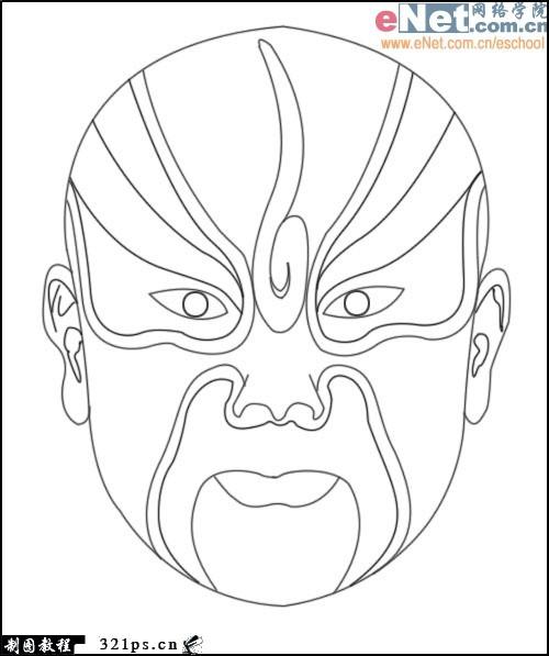 我需要一些只有黑白线条,可以让孩子涂上颜色的京剧脸谱图片.
