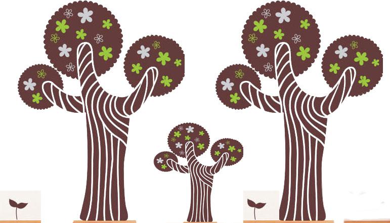两棵大树中间有一颗小树的漫画图片