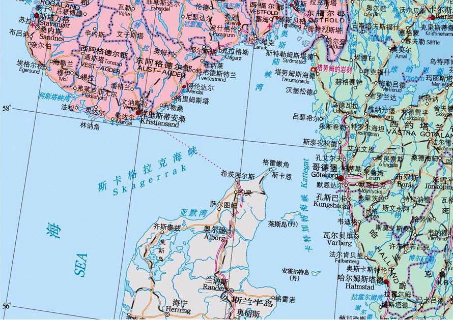 东经10度北纬58度是什么海峡