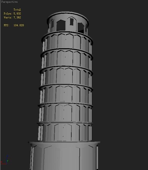 3d建模-比萨斜塔的制作步骤(详细)不用贴材质 只要最初的建模.