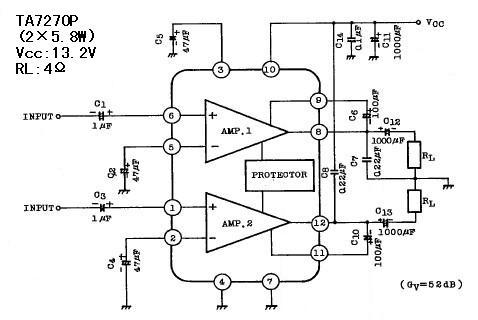 其实和ta7270p差不多的单电源电路很多,例如tda2004,tda2009,tda7350