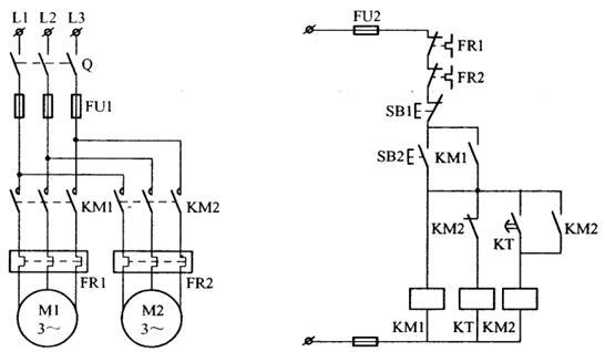 一个按钮控制两台电机顺序启动,控制电路图怎么画?图片