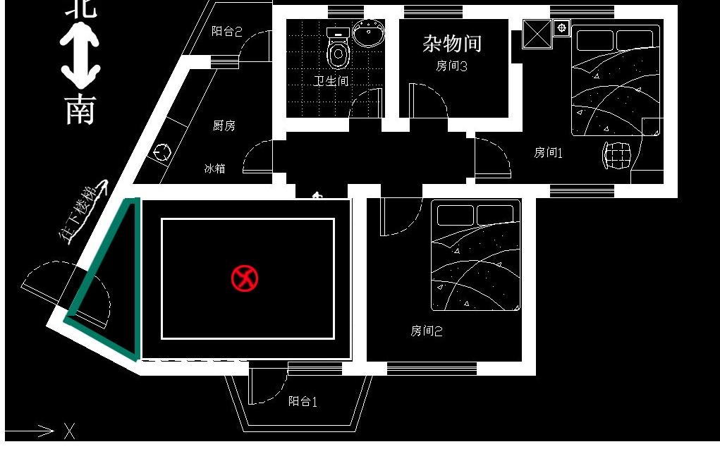 求風水化解:1,廚房和客廳不方正;2,廚房門與臥室門相對;3,住宅缺東南