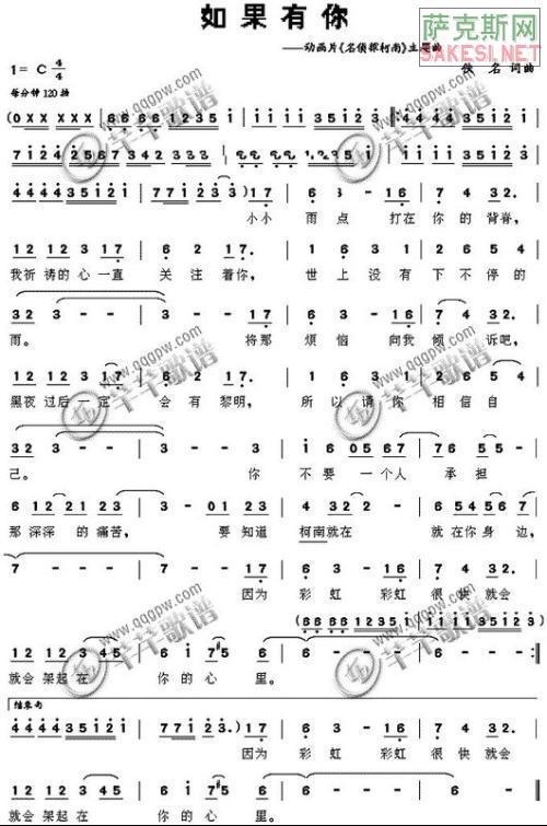 求柯南音乐 如果有你在 萨克斯纯音乐版和萨克斯曲谱!