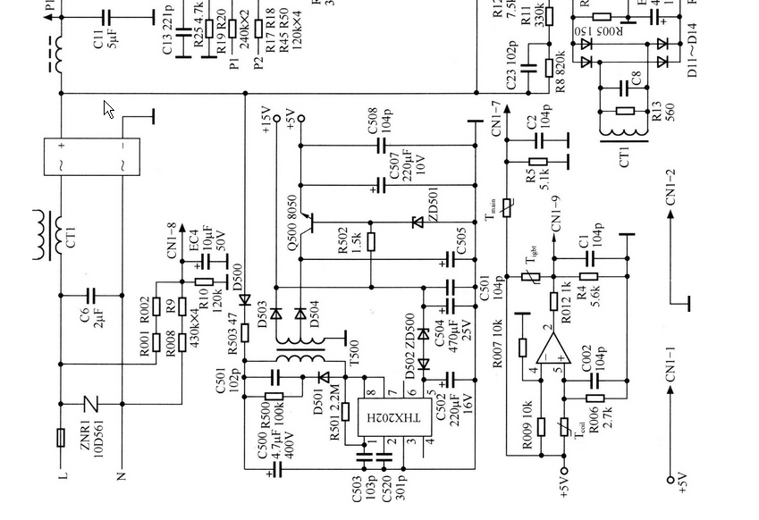 大概是这个吧电源芯片thx202 ,你对比下电路