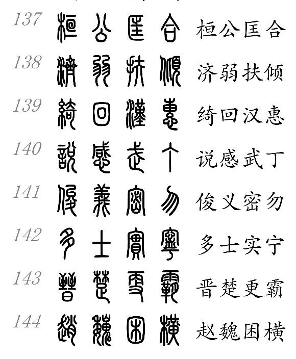 小篆千字文与中文对照表图片